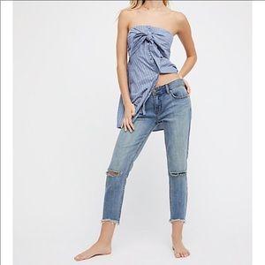 Free People Distressed Raw Hem Skinny ankle jeans